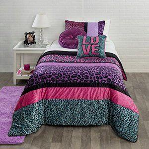 Vintage Animal Print Leopard Comforter Queen Set